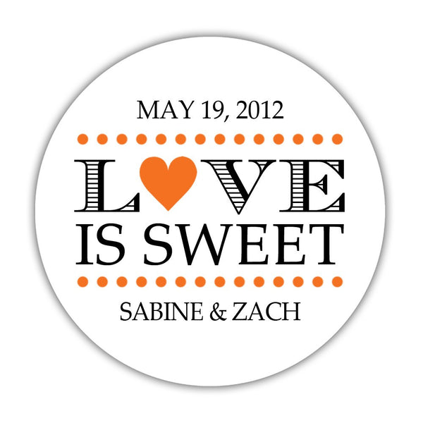 "Love is sweet stickers 'In Balance' - 1.5"" circle = 30 labels per sheet / Orange - Dazzling Daisies"