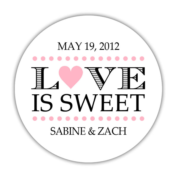 "Love is sweet stickers 'In Balance' - 1.5"" circle = 30 labels per sheet / Pink - Dazzling Daisies"