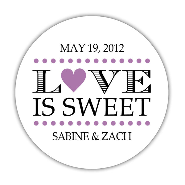 "Love is sweet stickers 'In Balance' - 1.5"" circle = 30 labels per sheet / Plum - Dazzling Daisies"