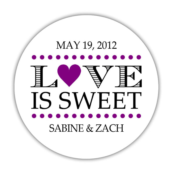 "Love is sweet stickers 'In Balance' - 1.5"" circle = 30 labels per sheet / Purple - Dazzling Daisies"
