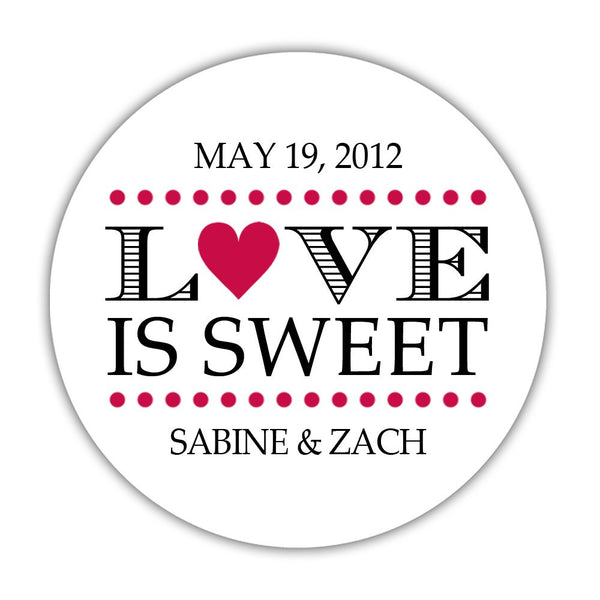 "Love is sweet stickers 'In Balance' - 1.5"" circle = 30 labels per sheet / Raspberry - Dazzling Daisies"