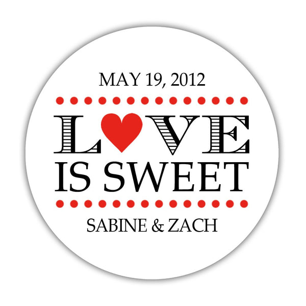 "Love is sweet stickers 'In Balance' - 1.5"" circle = 30 labels per sheet / Red - Dazzling Daisies"