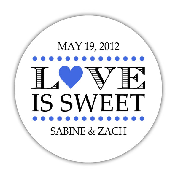 "Love is sweet stickers 'In Balance' - 1.5"" circle = 30 labels per sheet / Royal blue - Dazzling Daisies"
