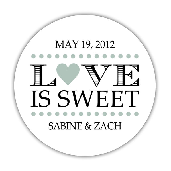 "Love is sweet stickers 'In Balance' - 1.5"" circle = 30 labels per sheet / Sage - Dazzling Daisies"