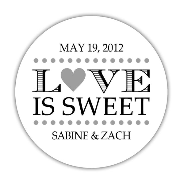 "Love is sweet stickers 'In Balance' - 1.5"" circle = 30 labels per sheet / Silver - Dazzling Daisies"