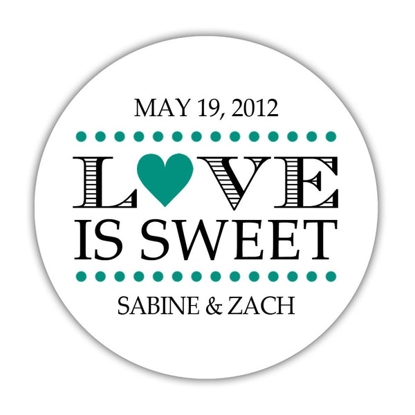 "Love is sweet stickers 'In Balance' - 1.5"" circle = 30 labels per sheet / Teal - Dazzling Daisies"