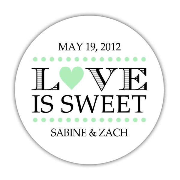 "Love is sweet stickers 'In Balance' - 1.5"" circle = 30 labels per sheet / Mint - Dazzling Daisies"