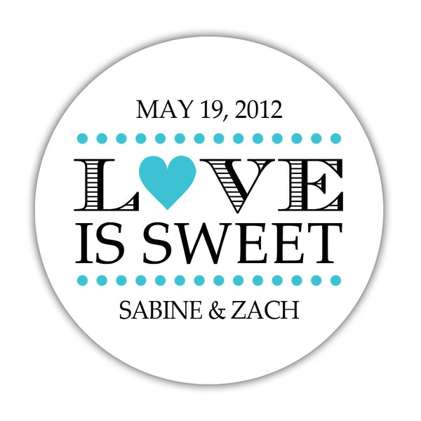 "Love is sweet stickers 'In Balance' - 1.5"" circle = 30 labels per sheet / Turquoise - Dazzling Daisies"
