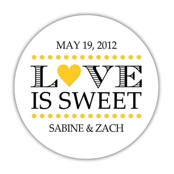"Love is sweet stickers 'In Balance' - 1.5"" circle = 30 labels per sheet / Yellow - Dazzling Daisies"