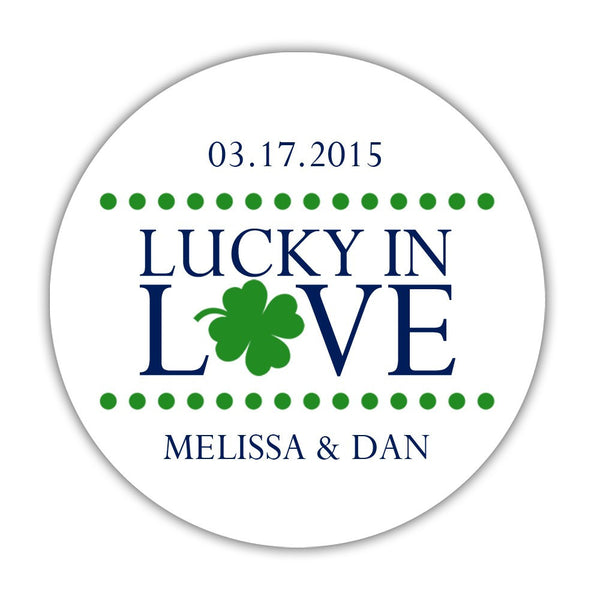 "Lucky in love stickers - 1.5"" circle = 30 labels per sheet / Navy - Dazzling Daisies"