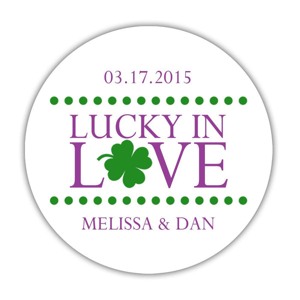 "Lucky in love stickers - 1.5"" circle = 30 labels per sheet / Purple - Dazzling Daisies"