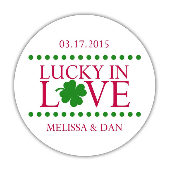 "Lucky in love stickers - 1.5"" circle = 30 labels per sheet / Raspberry - Dazzling Daisies"