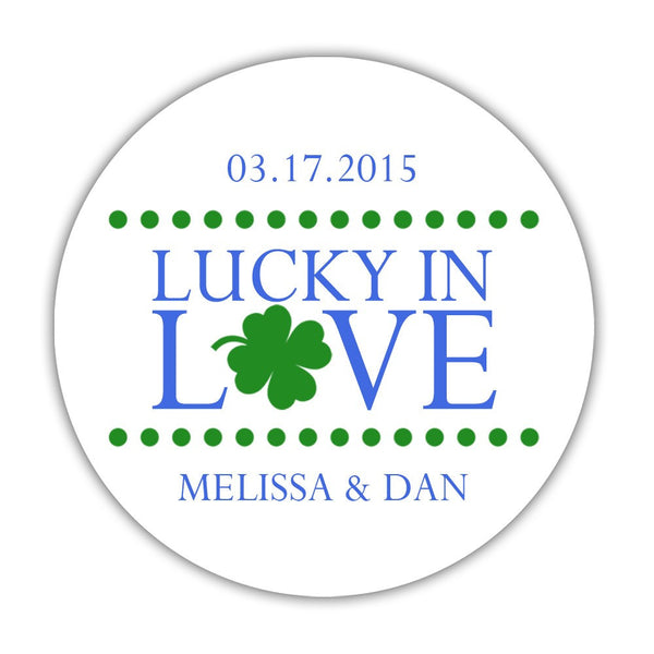 "Lucky in love stickers - 1.5"" circle = 30 labels per sheet / Royal blue - Dazzling Daisies"