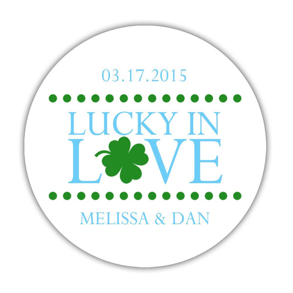 "Lucky in love stickers - 1.5"" circle = 30 labels per sheet / Sky blue - Dazzling Daisies"