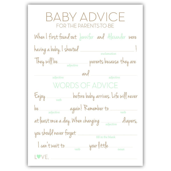 Baby shower mad libs - Mint - Dazzling Daisies