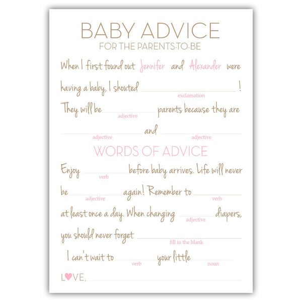 Baby shower mad libs - Pink - Dazzling Daisies