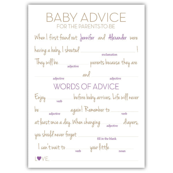Baby shower mad libs - Plum - Dazzling Daisies
