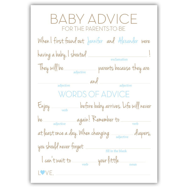 Baby shower mad libs - Sky blue - Dazzling Daisies