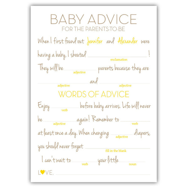 Baby shower mad libs - Yellow - Dazzling Daisies