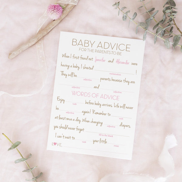 Baby shower mad libs -  - Dazzling Daisies