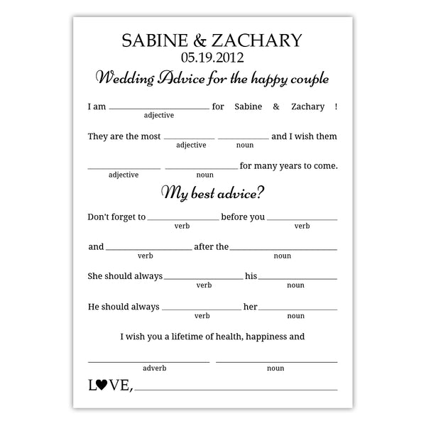 Wedding mad libs - Black - Dazzling Daisies