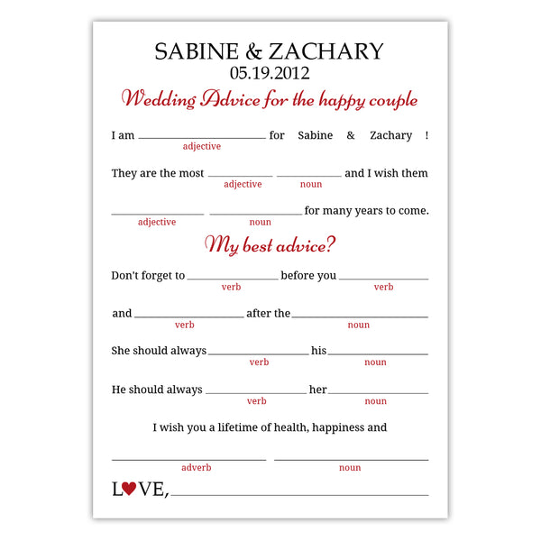 Wedding mad libs - Indian red - Dazzling Daisies