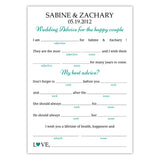 Wedding mad libs - Teal - Dazzling Daisies
