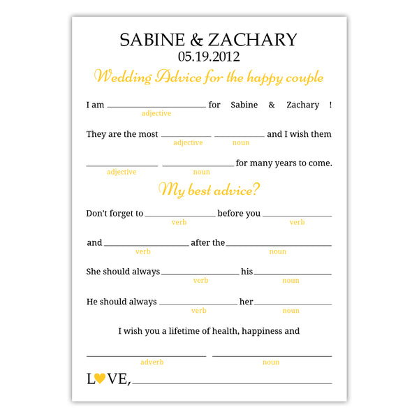 Wedding mad libs - Yellow - Dazzling Daisies