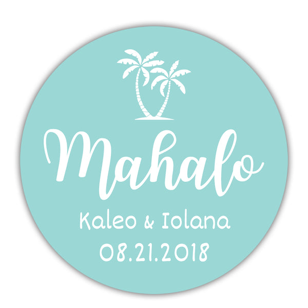 "Mahalo stickers - 1.5"" circle = 30 labels per sheet / Aquamarine - Dazzling Daisies"