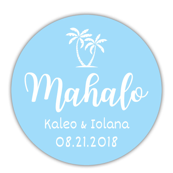 "Mahalo stickers - 1.5"" circle = 30 labels per sheet / Baby blue - Dazzling Daisies"
