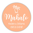 "Mahalo stickers - 1.5"" circle = 30 labels per sheet / Peach - Dazzling Daisies"