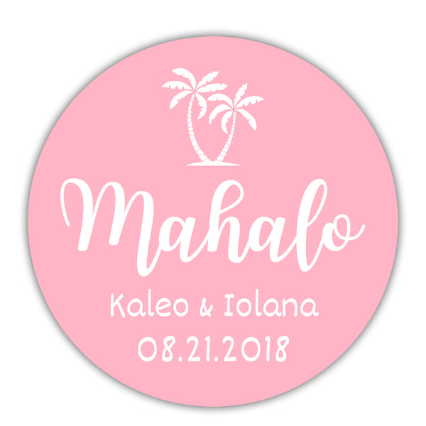 "Mahalo stickers - 1.5"" circle = 30 labels per sheet / Pink - Dazzling Daisies"