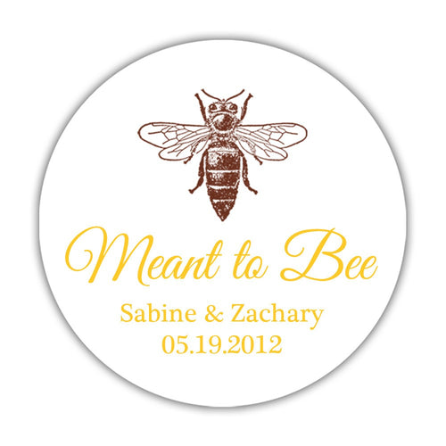 "Meant to bee stickers 'Bee Blissfull' - 1.5"" circle = 30 labels per sheet / Yellow - Dazzling Daisies"