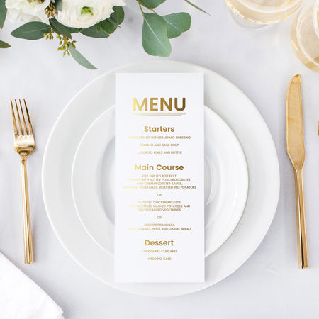 Rustic wedding menu cards