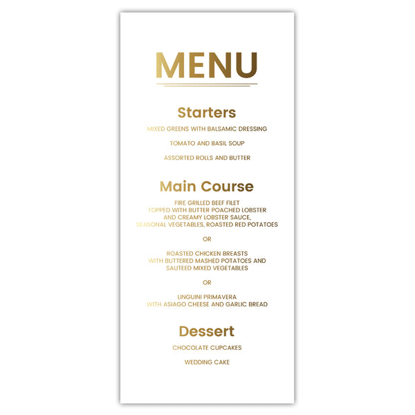 Foil menu cards 'Modern and Bold' - White / Gold foil - Dazzling Daisies