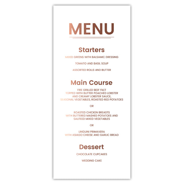 Foil menu cards 'Modern and Bold' - White / Rose gold foil - Dazzling Daisies