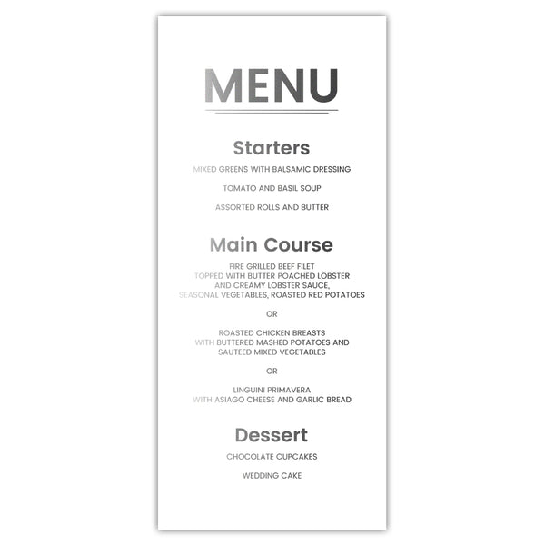 Foil menu cards 'Modern and Bold' - White / Silver foil - Dazzling Daisies