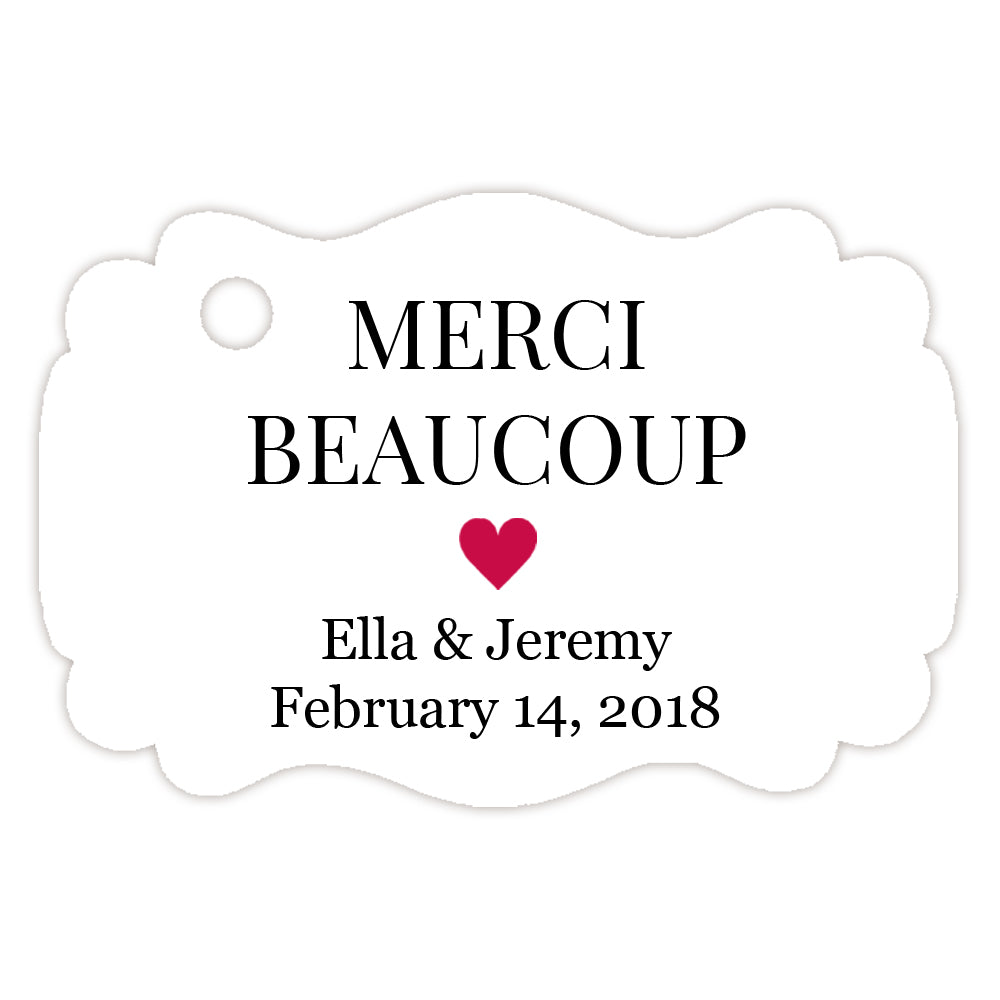 Merci beaucoup tags - Favor tags | Dazzling Daisies