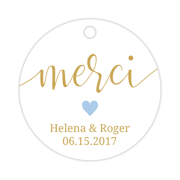Merci tags - Steel blue - Dazzling Daisies
