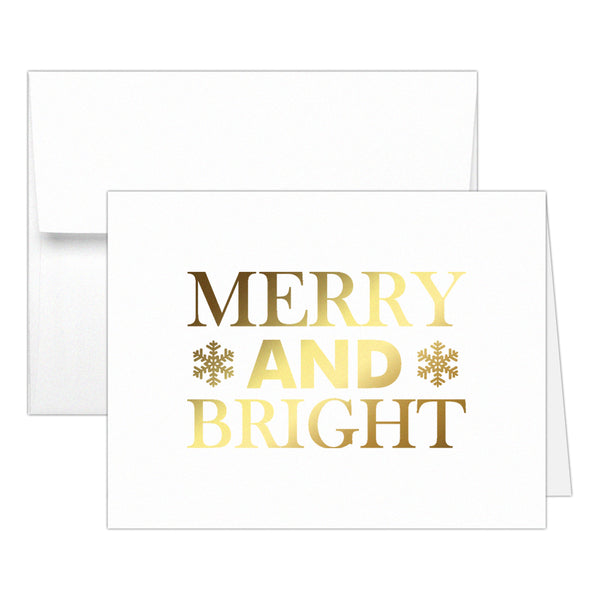 Christmas cards 'Merry And Bright' - Gold foil - Dazzling Daisies