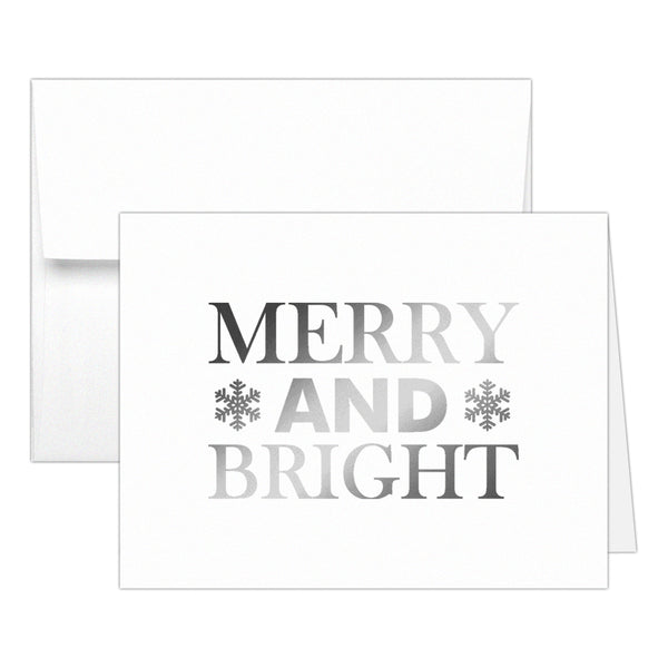 Christmas cards 'Merry And Bright' - Silver foil - Dazzling Daisies