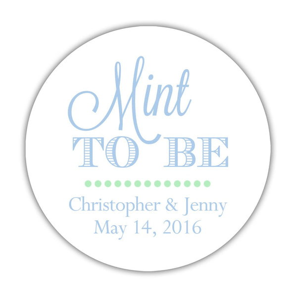 "Mint to be stickers - 1.5"" circle = 30 labels per sheet / Steel blue - Dazzling Daisies"