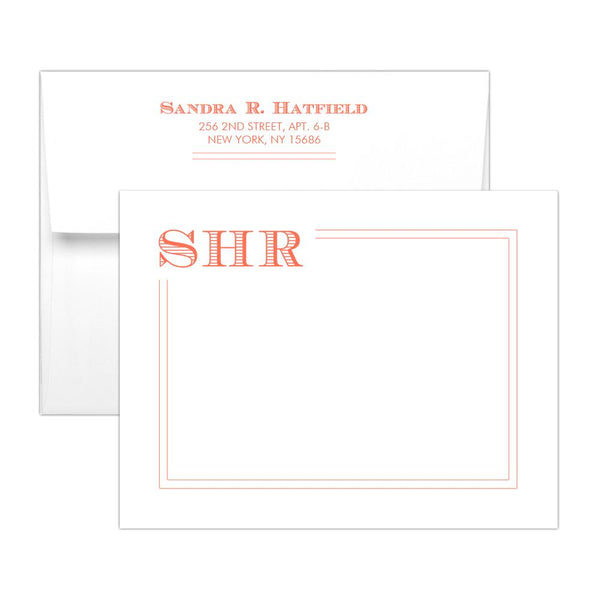 Modern monogram note cards 'Squared Lines' - Coral - Dazzling Daisies