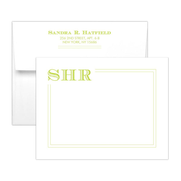 Modern monogram note cards 'Squared Lines' - Lime - Dazzling Daisies