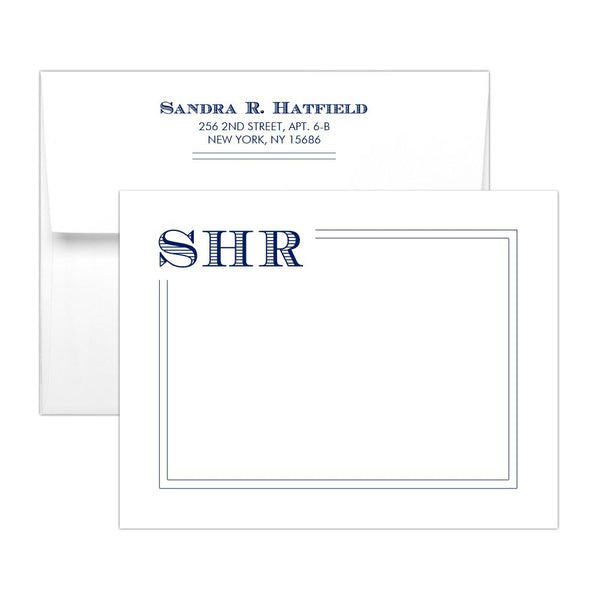 Modern monogram note cards 'Squared Lines' - Navy - Dazzling Daisies