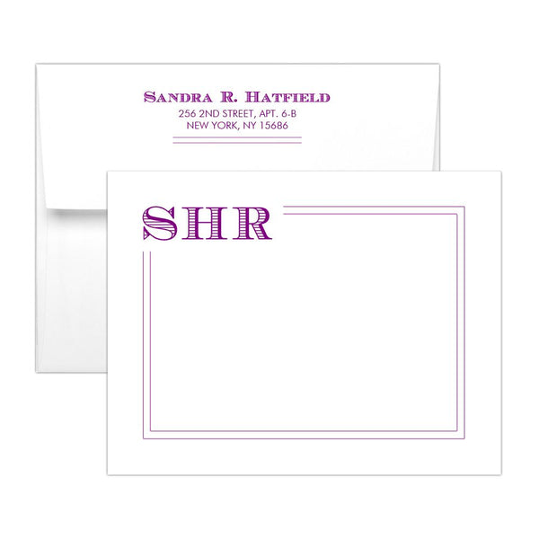 Modern monogram note cards 'Squared Lines' - Purple - Dazzling Daisies