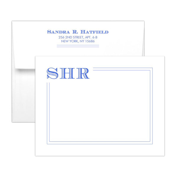 Modern monogram note cards 'Squared Lines' - Royal blue - Dazzling Daisies