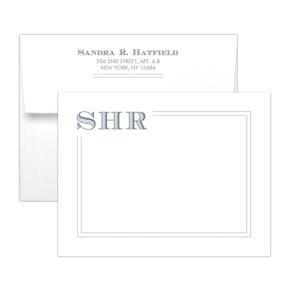Modern monogram note cards 'Squared Lines' - Slate - Dazzling Daisies