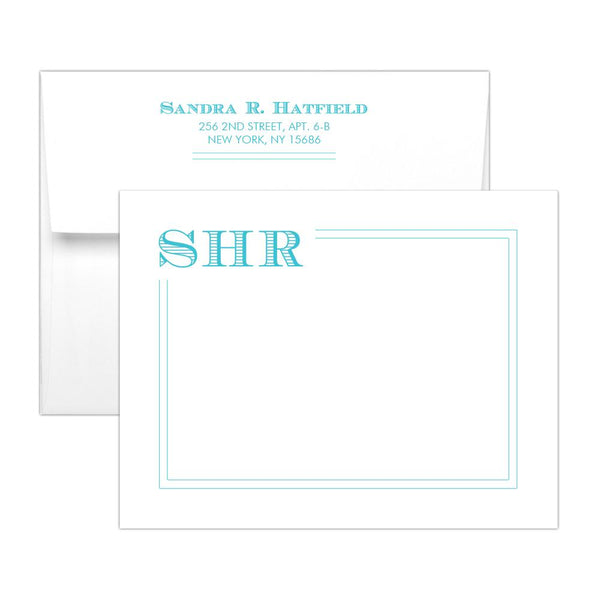 Modern monogram note cards 'Squared Lines' - Turquoise - Dazzling Daisies