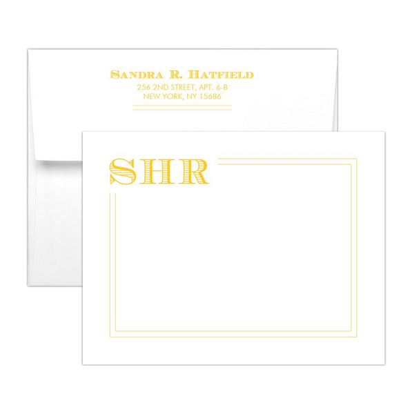 Modern monogram note cards 'Squared Lines' - Yellow - Dazzling Daisies